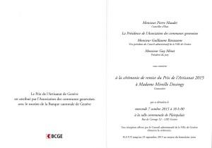 Invitation à la cérémonie du Prix de l'Artisanat de Genève
